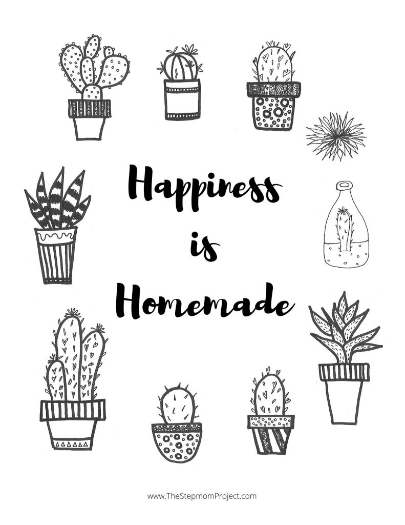 Coloring page that says Happiness is Homemade