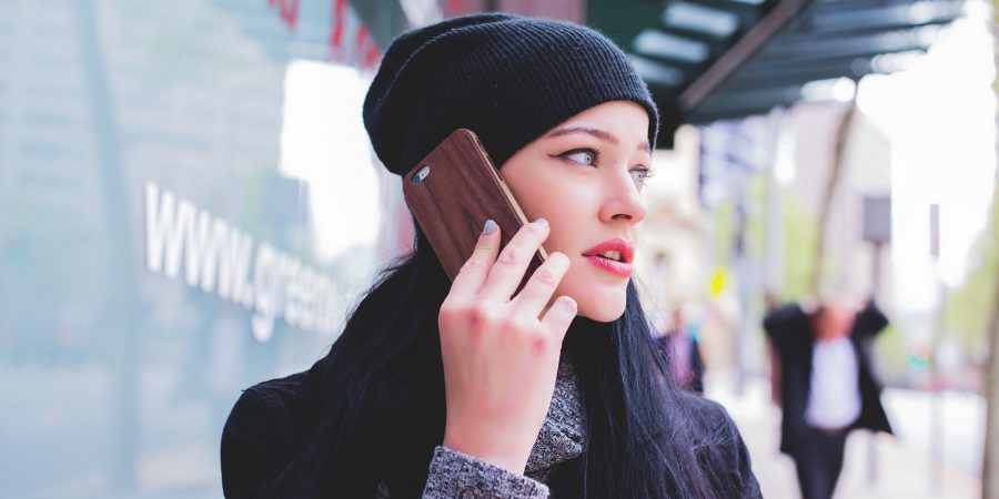woman having difficult conversation on the telephone