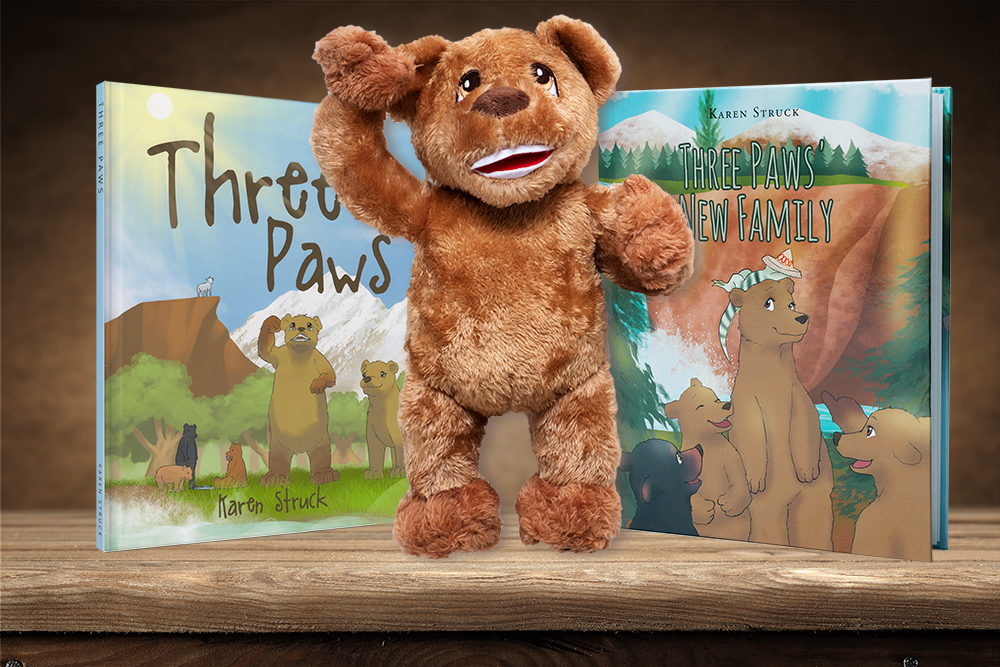 Karen Struck's Three Paws and Three Paws' New Family book covers.  Books for your family.