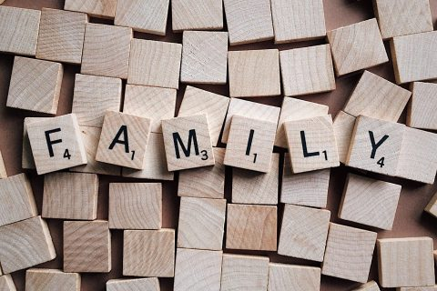 family scrabble pieces